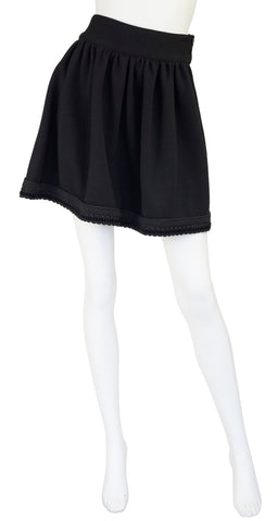 1980s Black Wool Jersey Mini Skirt