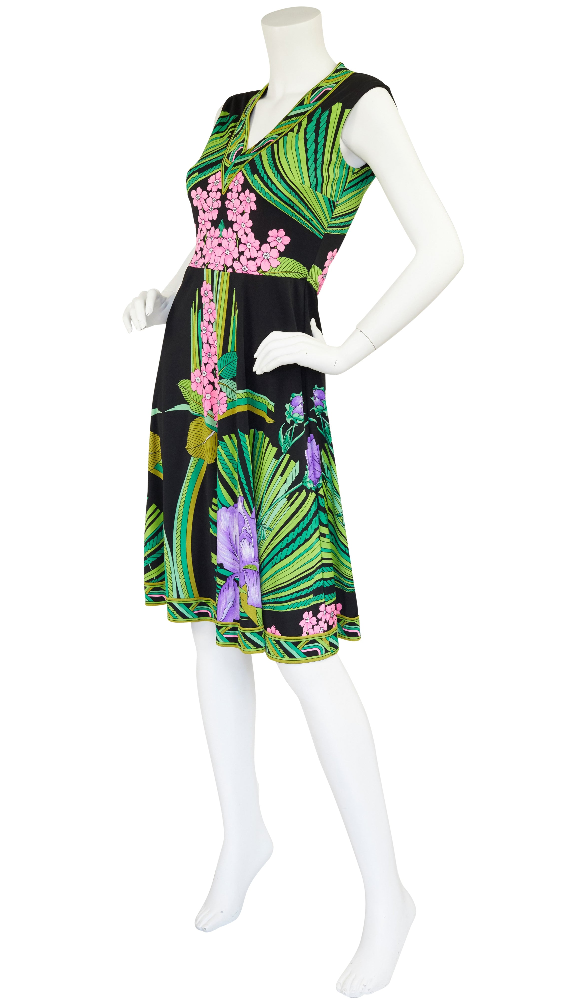 1970s Black Floral Leonard-esque Jersey Dress
