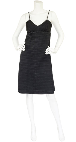 1960s Black Quilted Empire Waist Cocktail Dress