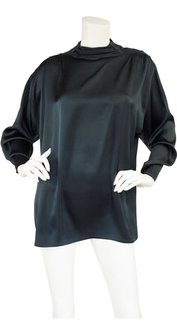 1980s Black Silk Ruched Shoulder Blouse