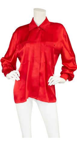 1980s Red Silk Collared Button-Up Blouse