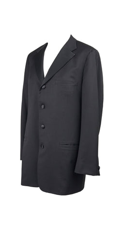 1990s Men's Black Wool and Silk Satin Suit Jacket
