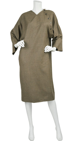1980s Earth Tone Wool Sack Dress