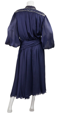 1980s Beaded Navy Silk Chiffon Evening Dress