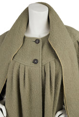 1970s Green Wool Oversized Scarf Coat