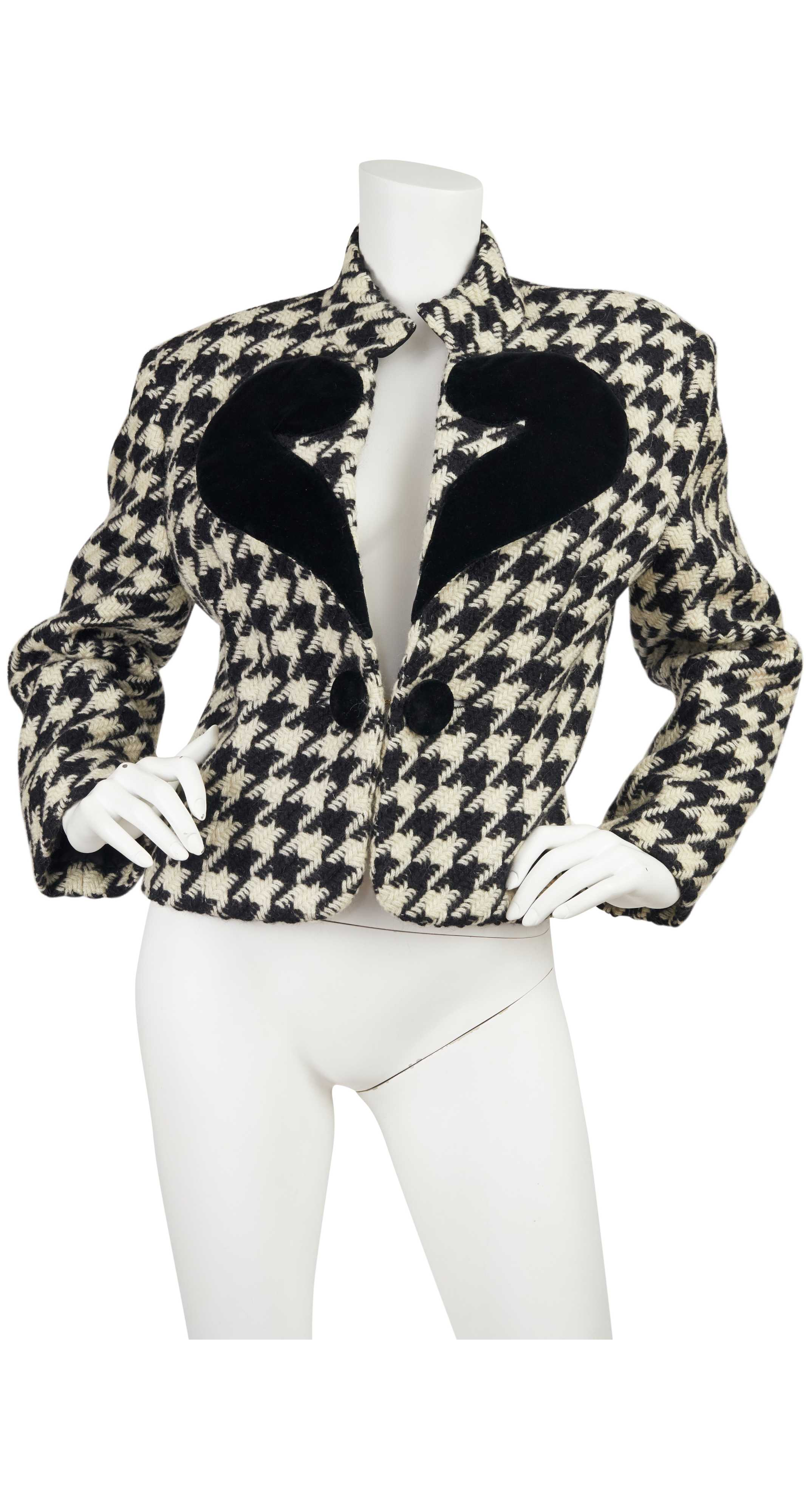 1980s Cheap and Chic Velvet Question Mark & Wool Houndstooth Jacket