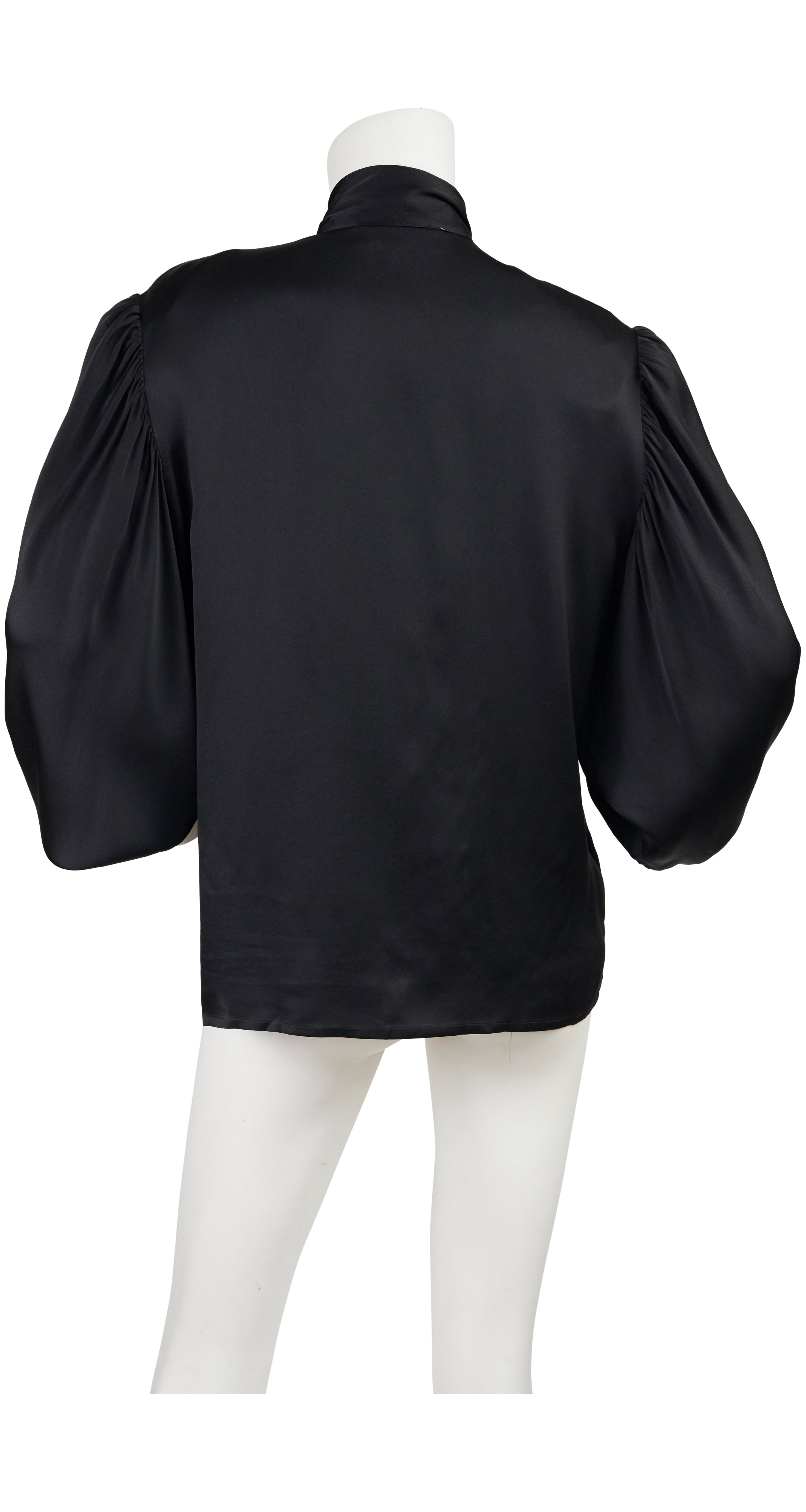 1970s Black Silk Pussy Bow Blouse