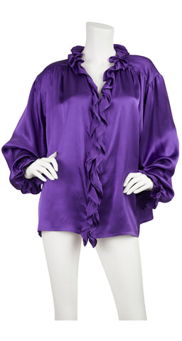 1979 Documented Purple Ruffle Silk Blouse