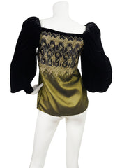 1981 Documented Velvet & Silk Taffeta Gold Threaded Blouse