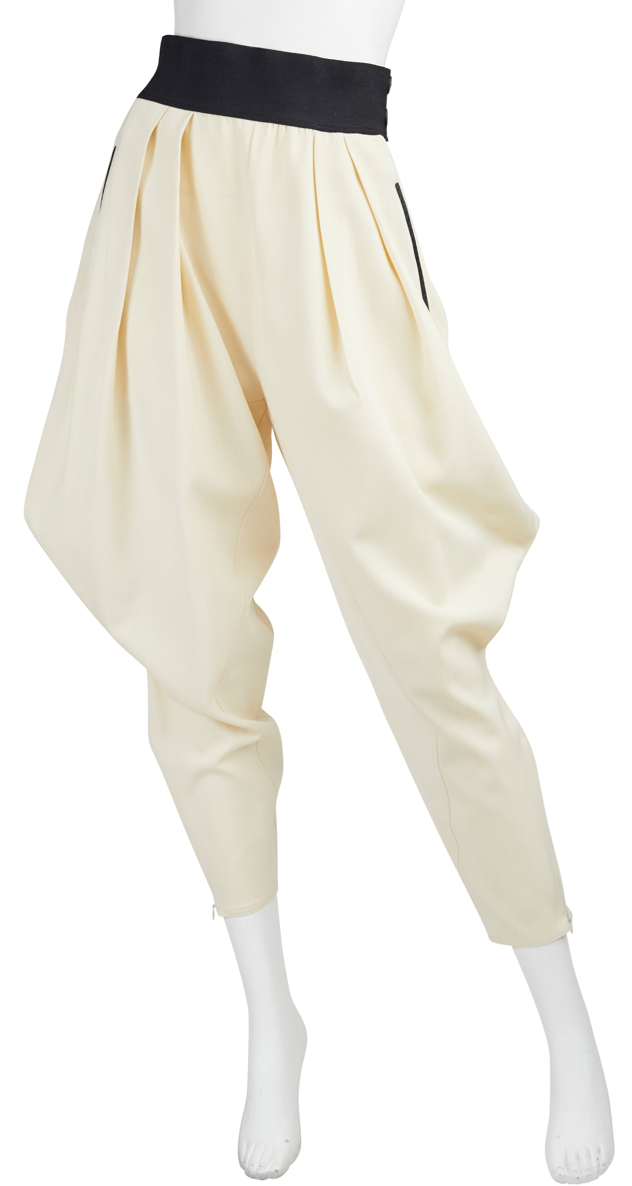 1980s Avant-Garde Cream Wool Riding Pants
