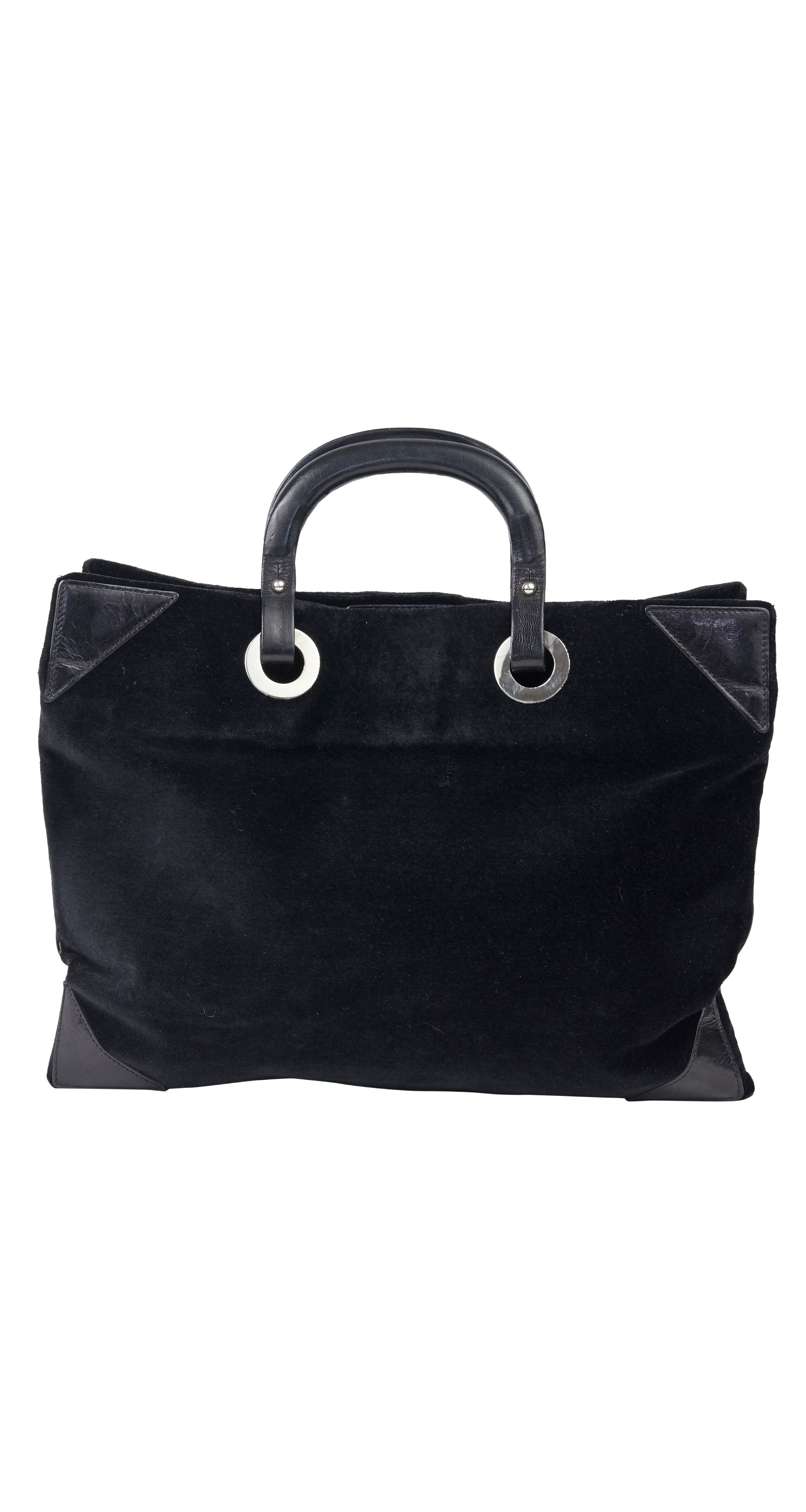 1970s Italian Black Velvet & Leather Hand Bag