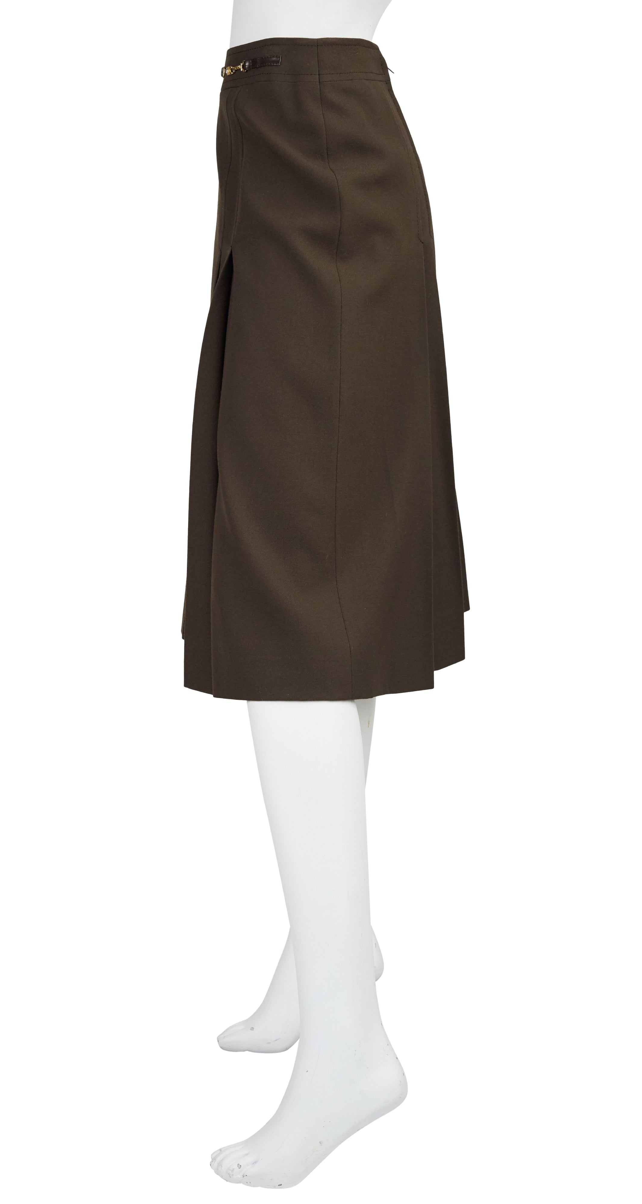 1970s Horsebit Brown Wool Pleated Skirt