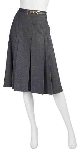 1970s Gold Buckle Gray Wool Pleated Skirt