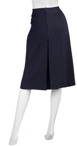 1970s Gold Logo Buckle Navy Wool Pleated Skirt