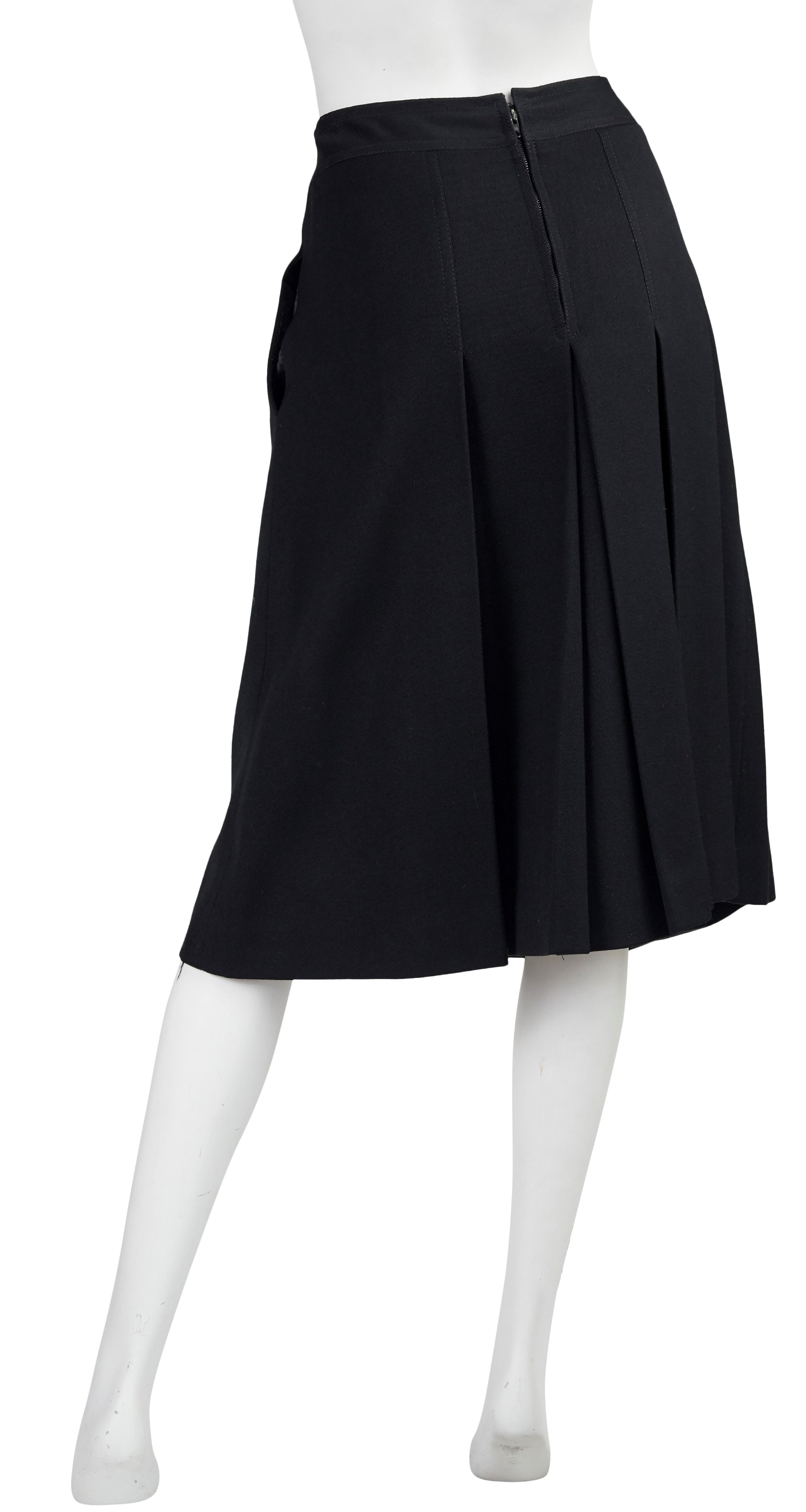 1970s Horsebit Black Wool Pleated Skirt