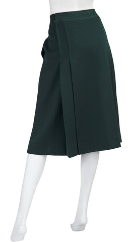 1970s Horsebit Dark Green Wool Pleated Skirt