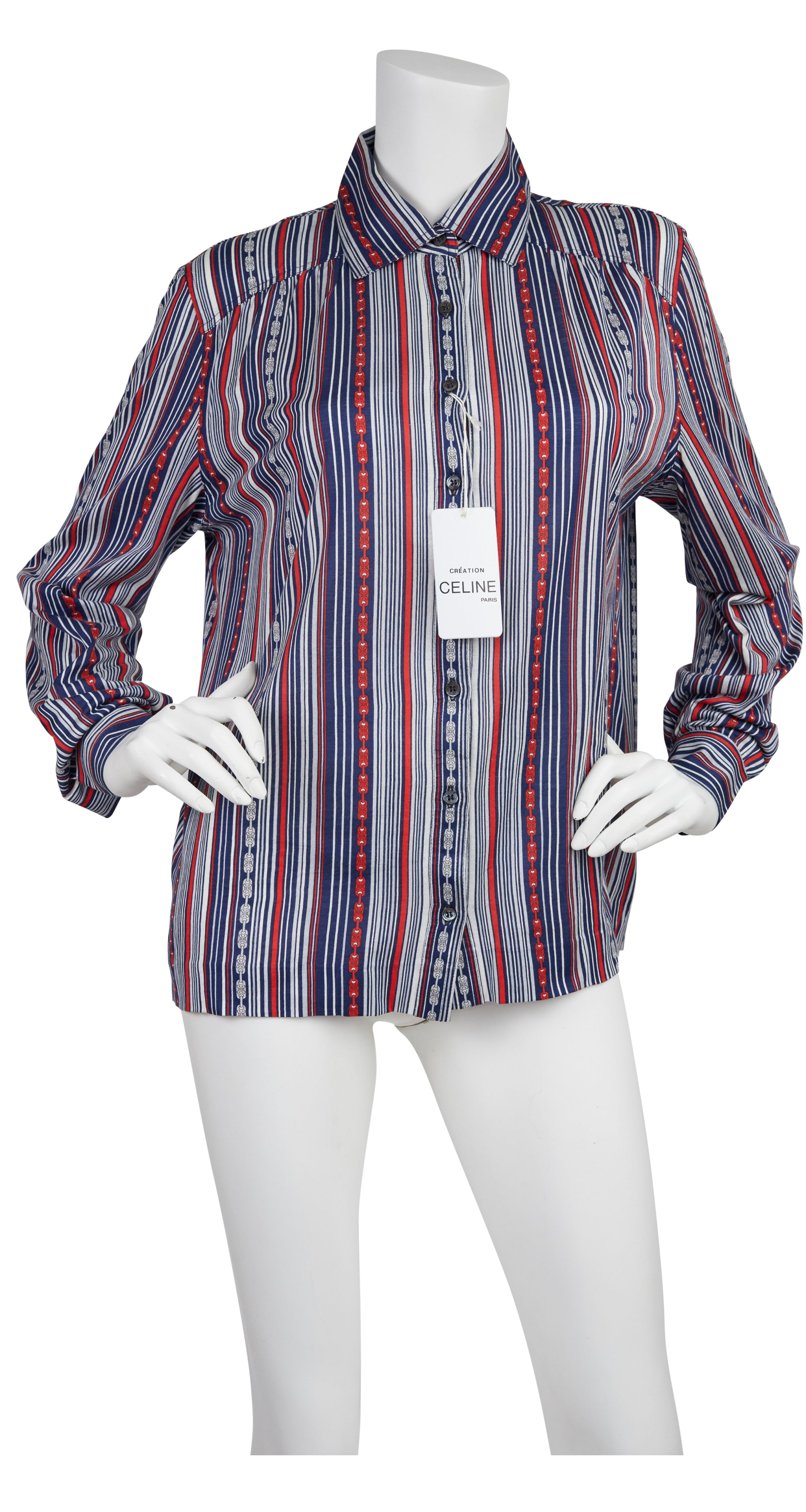 1970s Striped Chain-Link Cotton Button-Up Blouse