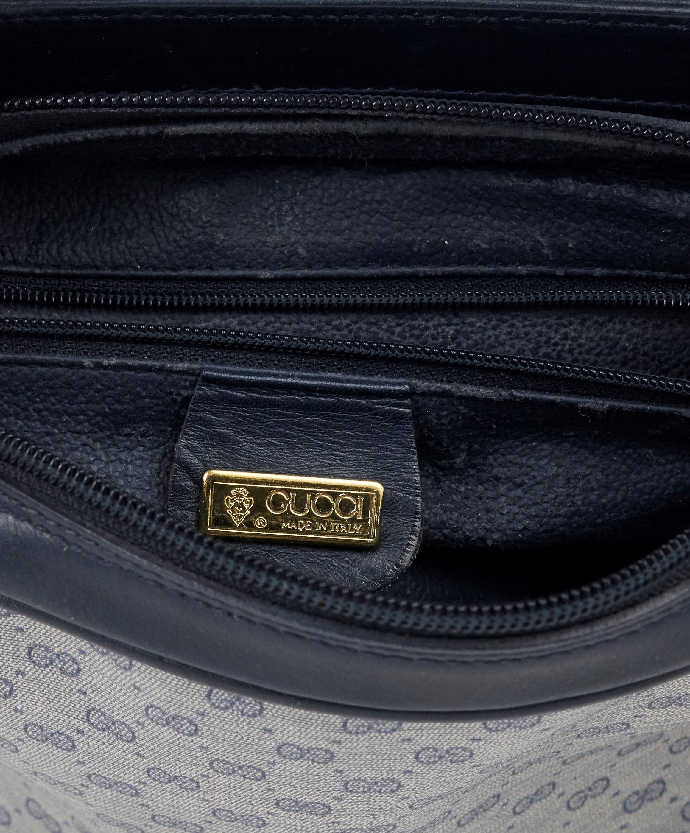 1980s Navy Monogram Canvas and Leather Shoulder Bag