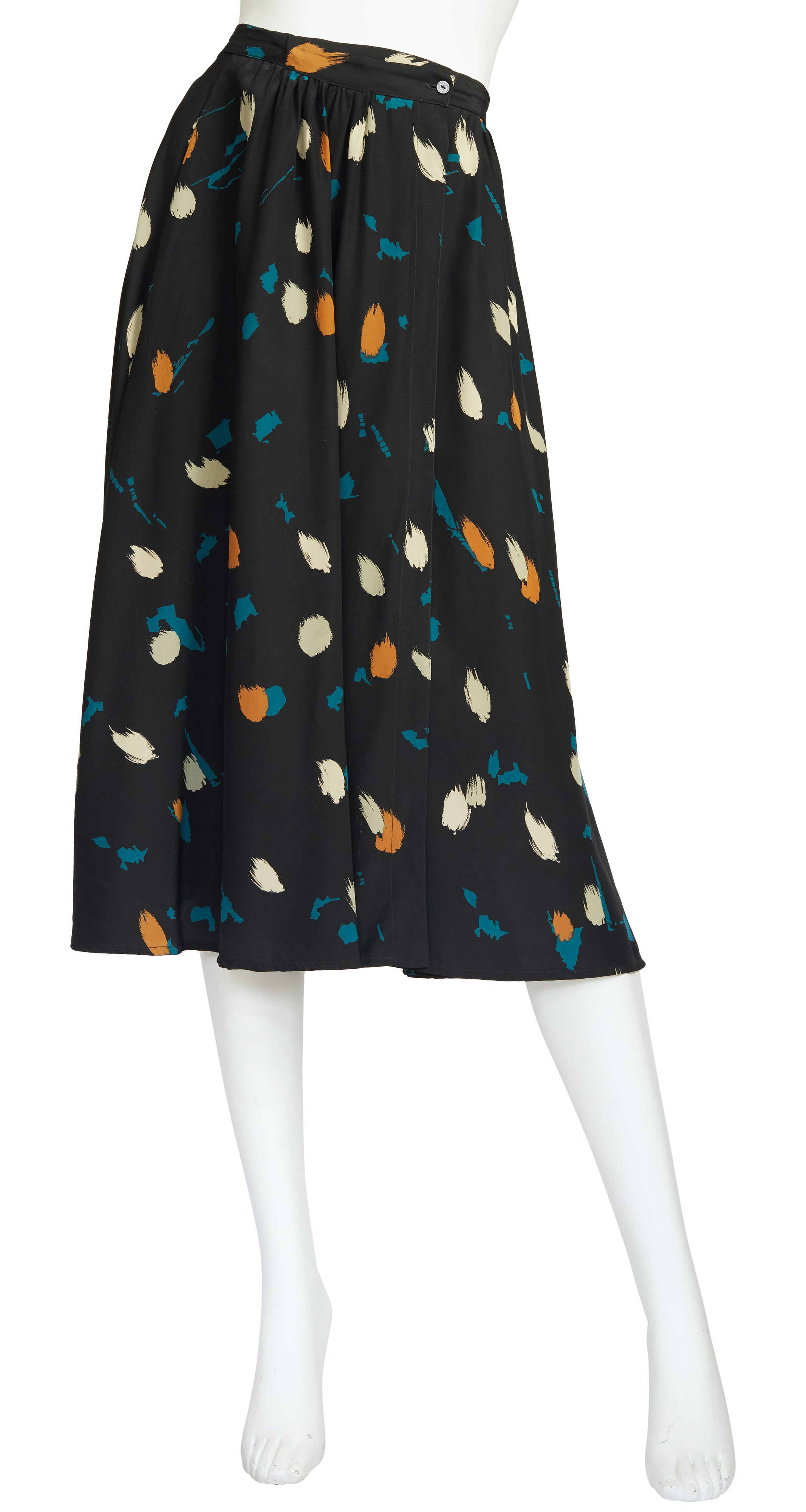 1980s Abstract Print Black Silk Midi Skirt