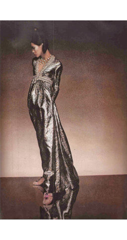1968 Documented Paisley Silk & Lurex Gown
