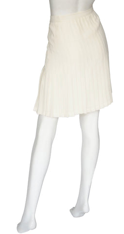 1970s Cream Pleated Crepe Tennis Skirt