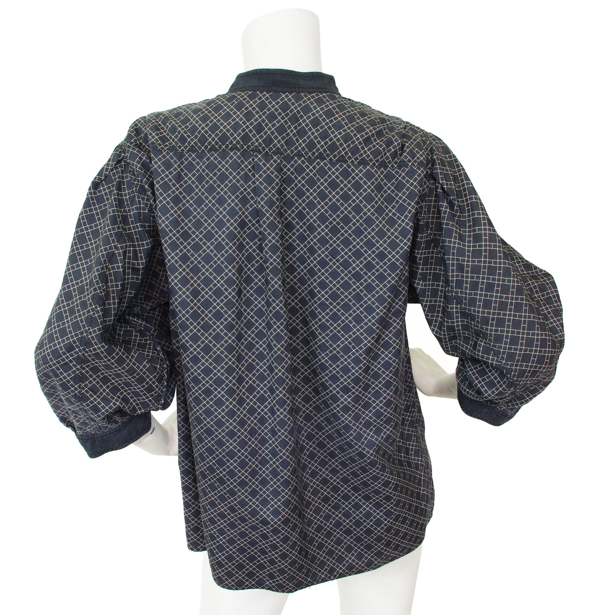 1970's Geometric Silk Puff Sleeve Blouse