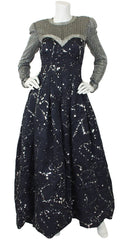 1980s Couture Silver Beaded Paint Splatter Full Skirt Gown