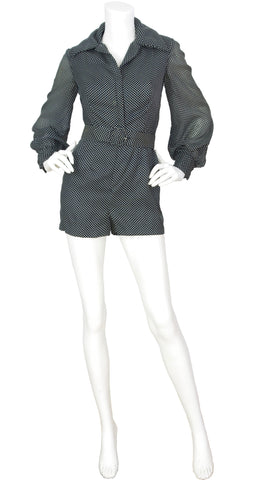 1960s Black Polka-Dot Romper & Ostrich Feather Skirt