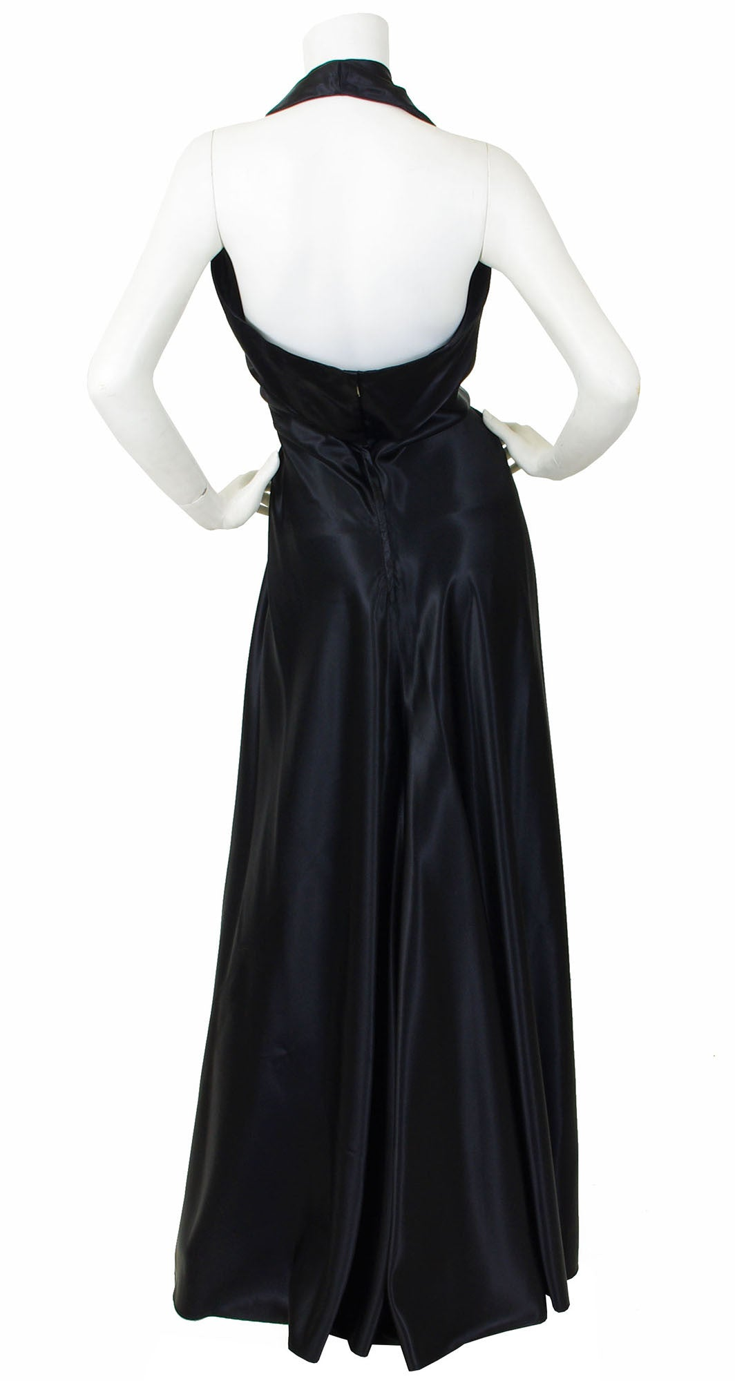 1940's Sequin Plunge Neck Black Liquid Satin Halter Gown
