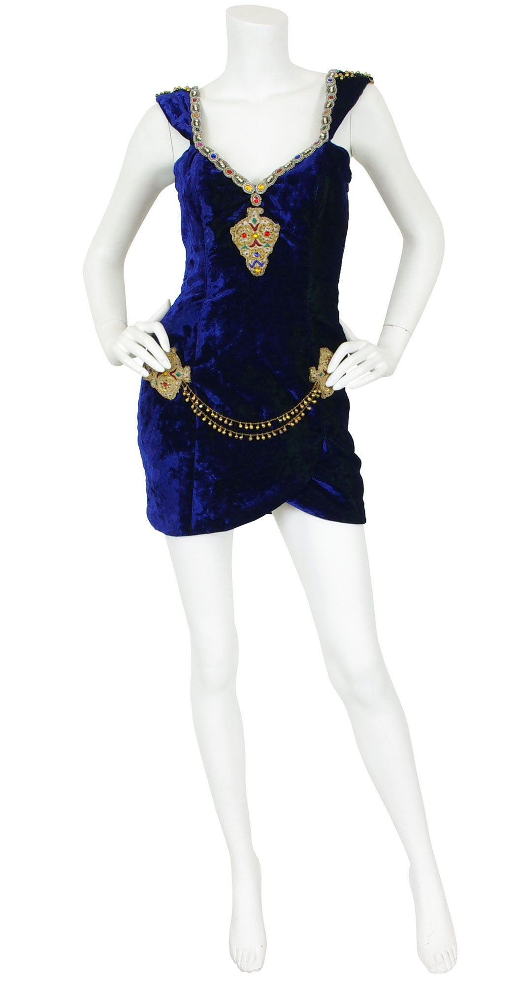 1990s Embellished Indigo Velvet Mini Dress