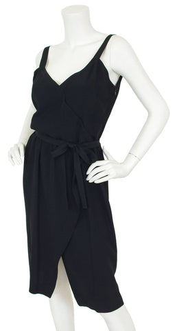 1970s Black Rayon Crepe Faux Wrap Dress