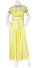 Intricately Beaded Yellow Jersey Evening Gown