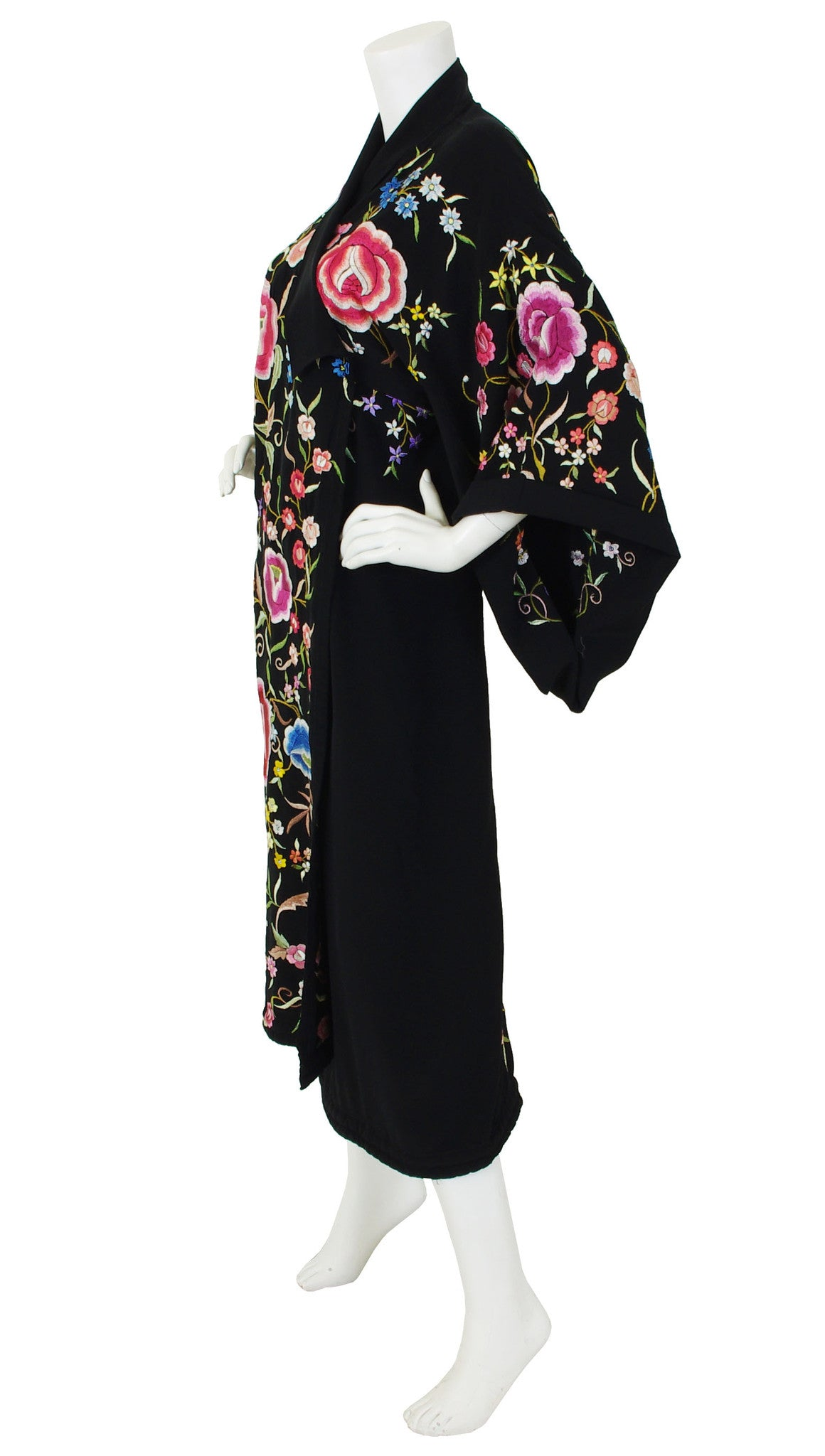 Art Deco Exceptional Floral Embroidered Black Kimono Wrap