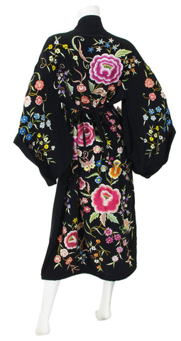Exceptional Floral Embroidered Black Kimono Wrap