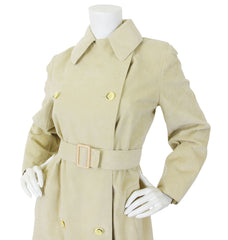 c. 1972 Iconic Beige Ultrasuede Double Breasted Trench Coat