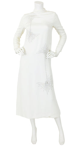 1960s Rhinestone Starburst White Evening Dress