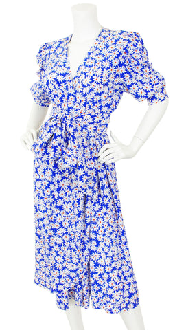 1970's Daisy Print Silk Faux Wrap Puff Sleeve Dress