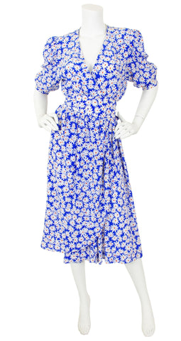 1970s Daisy Print Silk Faux Wrap Puff Sleeve Dress
