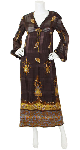 1970s Paisley Brown Silk Chiffon Balloon Sleeve Dress