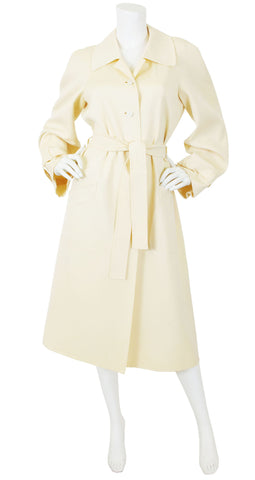 1970s Chic Cream Wool Trench Coat