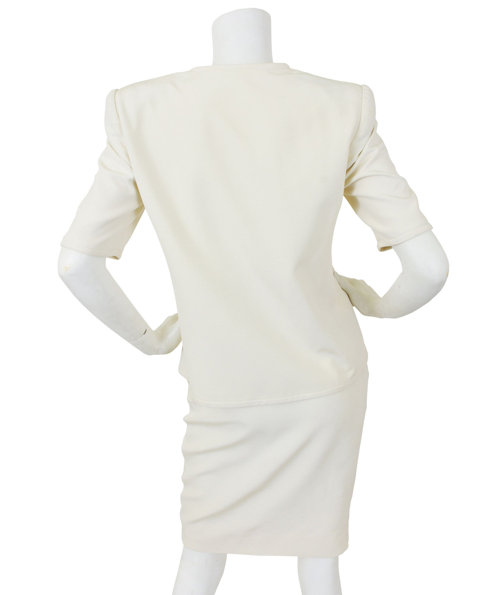 1980's Rhinestone Bow Cream Ribbed Silk Skirt Suit