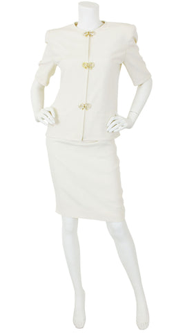 1980s Rhinestone Bow Cream Ribbed Silk Skirt Suit