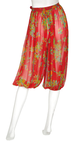 1970s Red Floral Silk Chiffon Harem Pants