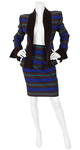 1980s Striped Ribbed Wool Velvet Trim Skirt Suit