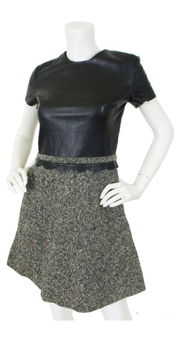 Mod Black Scalloped Leather & Wool Tweed Dress
