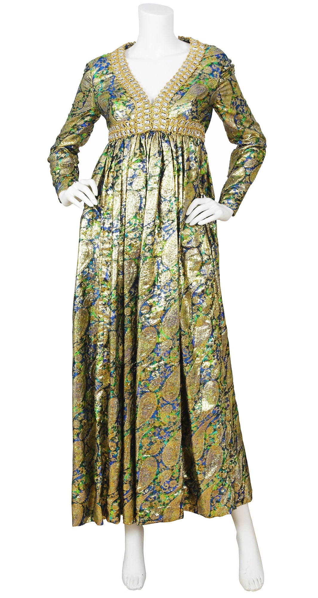 1960s Metallic Paisley Silk & Lurex Gown