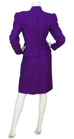 1980s Purple & Magenta Chevron Wool Skirt Suit