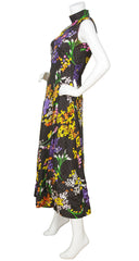 1970s Black Polka-Dot & Floral Maxi Dress