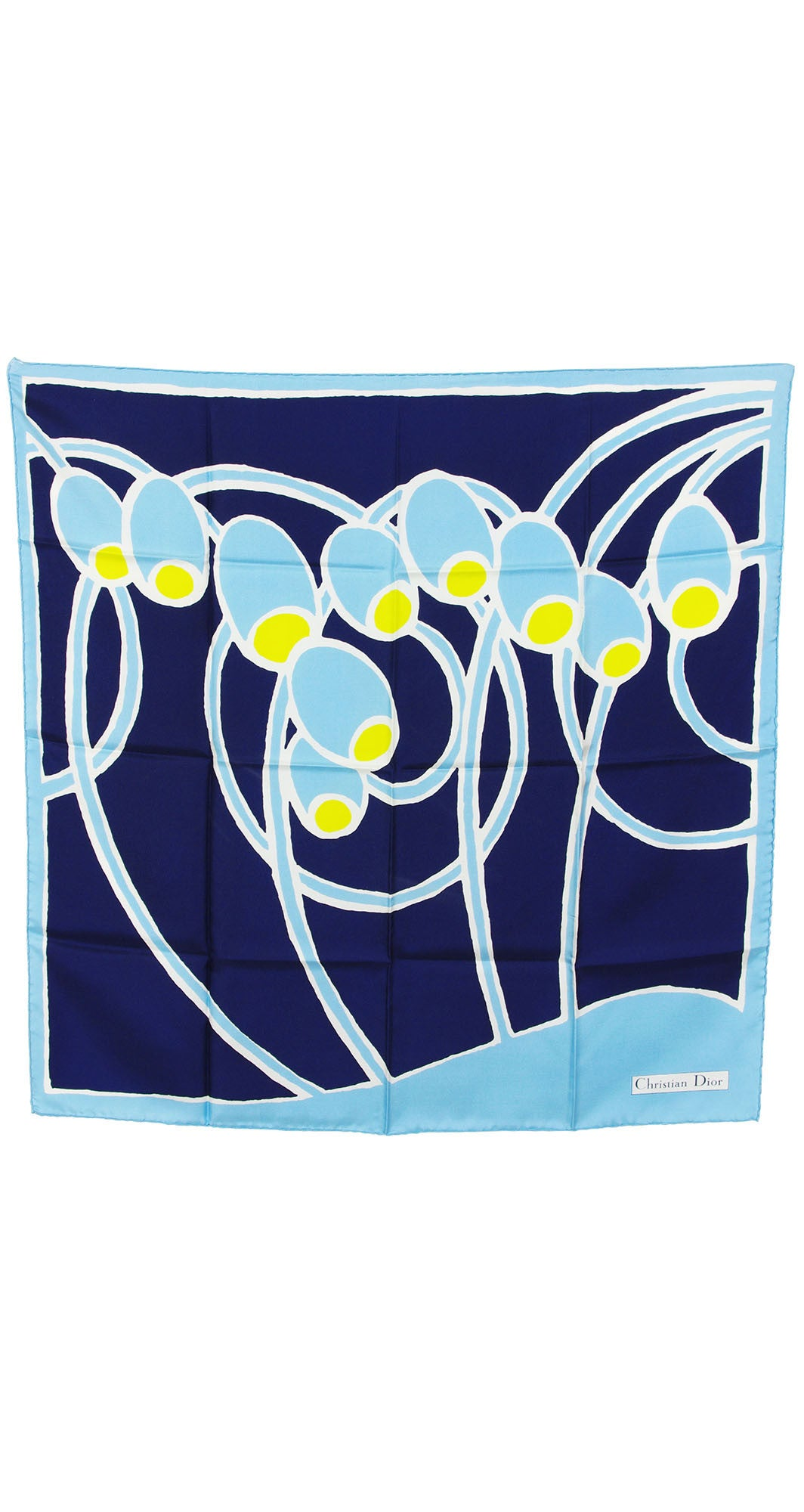 1960s Blue Abstract Floral Silk Twill Scarf