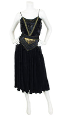 1980's Rare Black and Gold Metallic Three Piece Ensemble